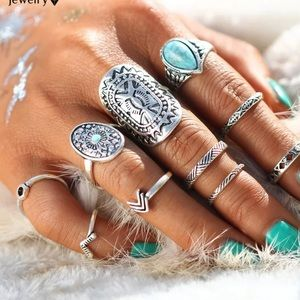 Jewelry - 10 piece midi Knuckle Silver Toned Ring Set boho